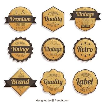 Коллекция значков с винтажным стилем