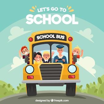 漫画のスクールバスとフラットデザインの子供たち