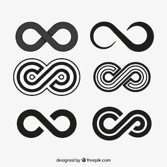 Коллекция символов бесконечности в черном цвете