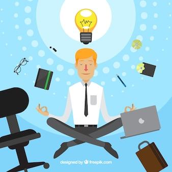 ビジネスマンと瞑想の概念