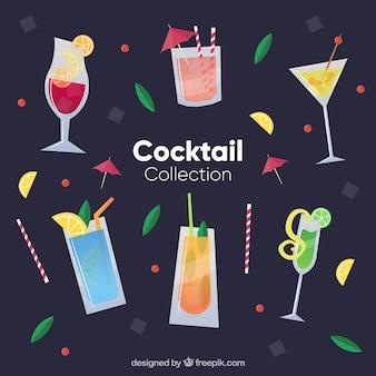 Коллекция свежих коктейлей в плоском стиле