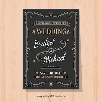 Элегантный шаблон свадебного приглашения с винтажным стилем