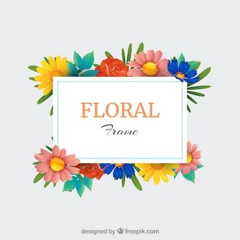 リアルなスタイルのカラフルな花のフレーム