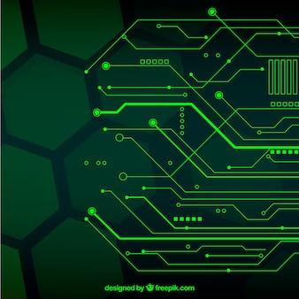 Текнологический фон с точками и линиями