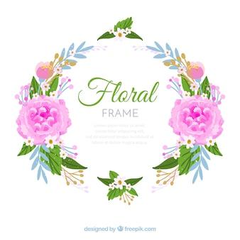 円形デザインの水彩画の花のフレーム