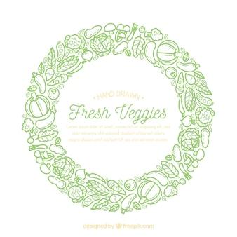 野菜と手描きのフードフレーム