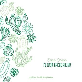 手描きのサボテンと花の背景