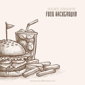 手描きのスタイルで食べ物の背景