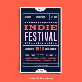 Фестивальный плакат в плоском стиле