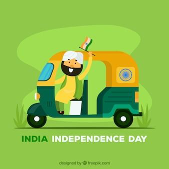 インディアン独立記念日の人力車の背景