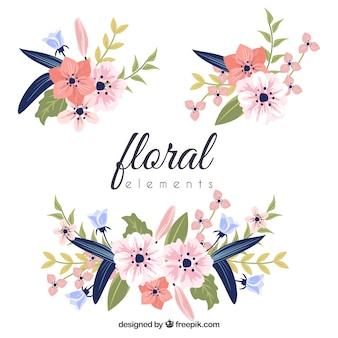 フラットデザインのカラフルな花の要素のコレクション