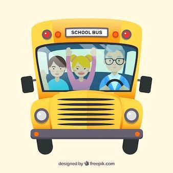 子供たちと学校のバスの背景