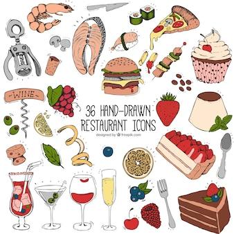 Нарисованный вручную набор вкусной еды