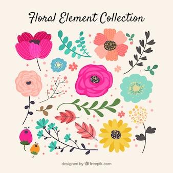 Красочная коллекция цветочных элементов с плоским дизайном
