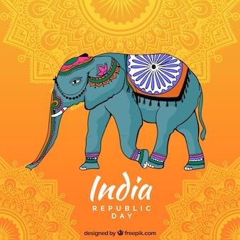 装飾的な象とインドの独立日の背景
