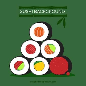 平らなデザインの寿司の背景