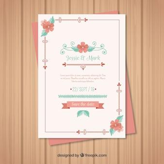 花のスタイルとヴィンテージウェディングカードのテンプレート