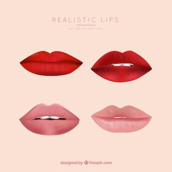 現実的なスタイルの唇のコレクション