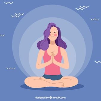 Концепция медитации со спортивной женщиной