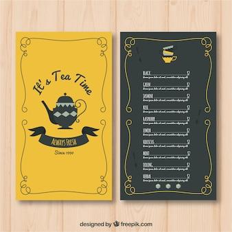 Шаблон меню чая в плоском стиле