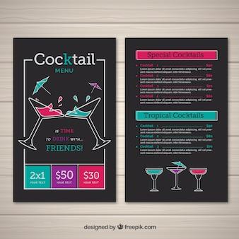 Шаблон меню коктейлей в плоском стиле