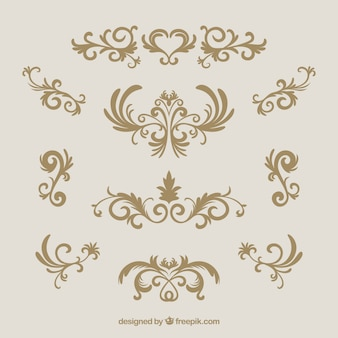 Коллекция старинных украшений с золотым стилем