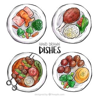 水彩の料理の料理のトップビュー