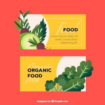 Коллекция карточек здоровой еды с плоским дизайном