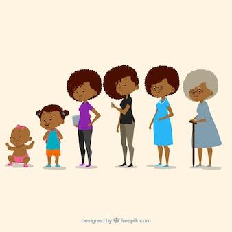 さまざまな年齢の黒の女性のコレクション