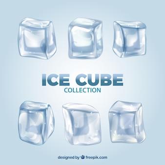 Коллекция кубиков льда с реалистичным стилем