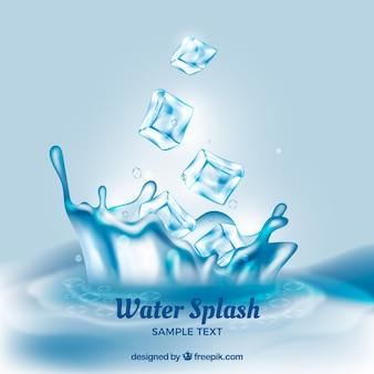Реалистичный фон с кубиками льда и всплеском воды