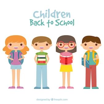 Назад к школьной композиции с плоскими детьми