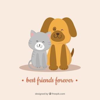 かわいい動物と友情の日の背景