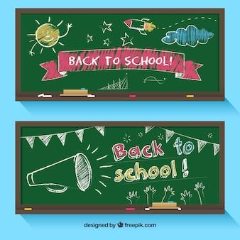 Назад к школьным баннерам с плоским дизайном