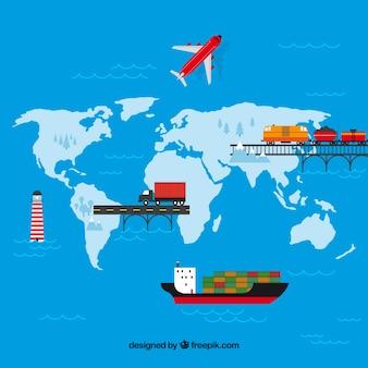 フラットデザインの国際貿易コンセプト