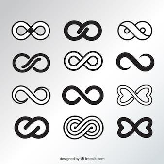 Элегантная коллекция черных бесконечных символов