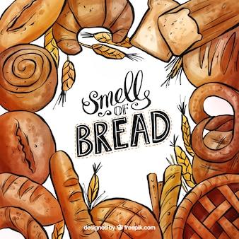 水彩のパンのフレーム