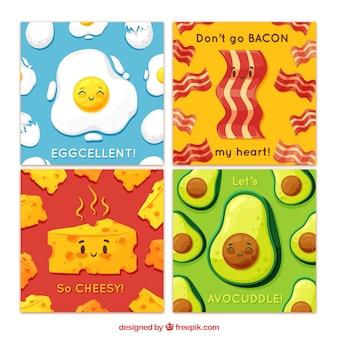 フラットなデザインの食べ物カードの素敵なセット