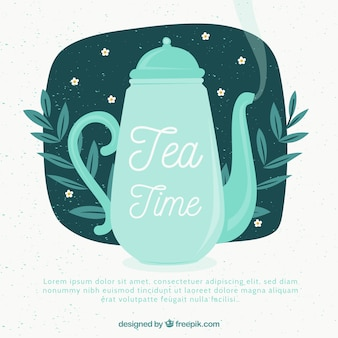 ティーポットで茶葉の背景