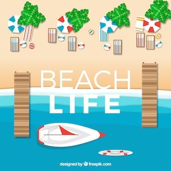 Пляж с видом сверху в стиле бумаги