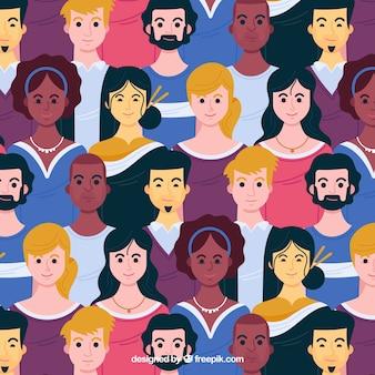 手描きのスタイルで人々のパターン