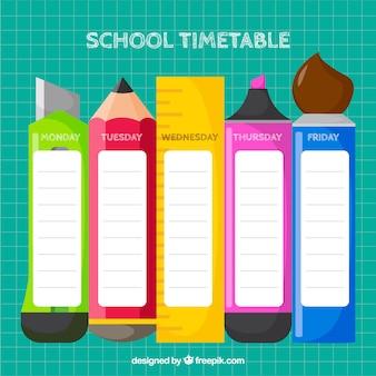フラットデザインの学校のタイムテーブルテンプレート