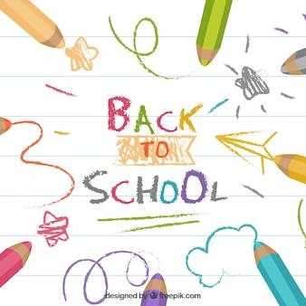 Снова в школу фон с красочными карандашами