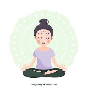 Женщина медитирует с плоским дизайном