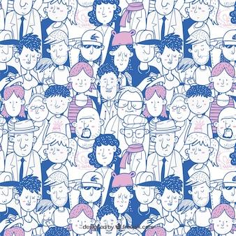 手描きのスタイルでカラフルな人々のパターン
