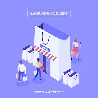 Концепция покупок с людьми в изометрическом виде
