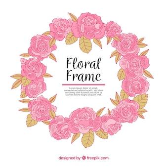 手描きのスタイルでカラフルな花のフレーム