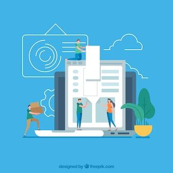 Современная концепция веб-дизайна с плоским дизайном