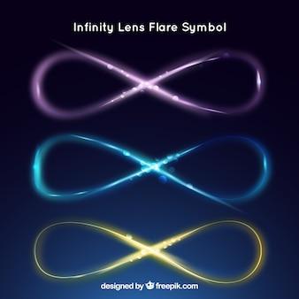 Символ бесконечности с коллекцией эффектов вспышки объектива