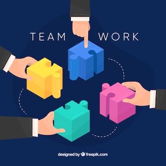 パズルピースのチームワークコンセプト